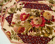 Set of four rose floral placemats