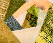 Crazy quilt green mug rugs