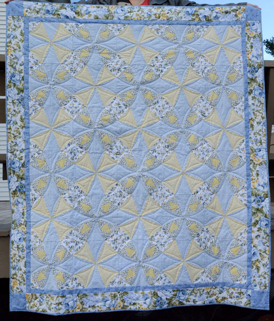 'Kaleidescope Blues' a paper-pieced lap quilt