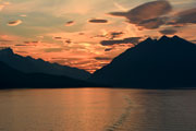 Sunset over the waters of the Inside Passage, British Columbia