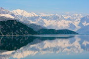Reflections of mountains surrounding Glacier Bay
