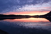 Sunset over Bedwell Harbour from Poet's Cove, Pender Island, BC
